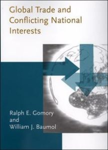 "Gomory's book ""Global Trade and Conflicting National Interests,"" co-written with William J. Baumol and published by MIT Press in 2001, is a prescient analysis of how globalization has upended classic trade models. Nobel Laureate Robert M. Solow says, ""this book should be read carefully, but above all it should be read,"" while Columbia economist Jagdish Bhagwati says, ""When you pair a world-class mathematician with a world-class economist, you should be prepared for a spectacular outcome. The Gomory-Baumol book is an apt illustration."""